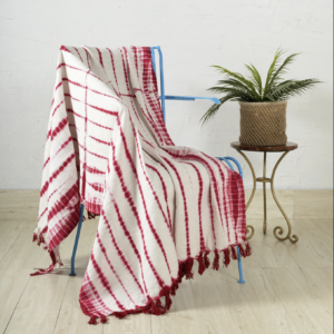 White and red handloom cotton throw